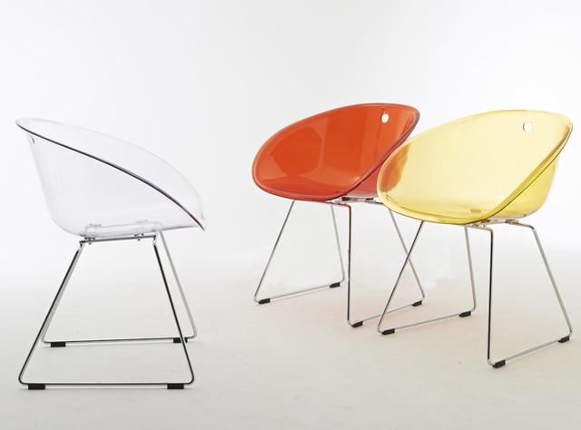 Modern Design Clear Transparent Plastic Acrylic Modern Classic Dining Chair  With Metal Leg Fashion Design Crystal