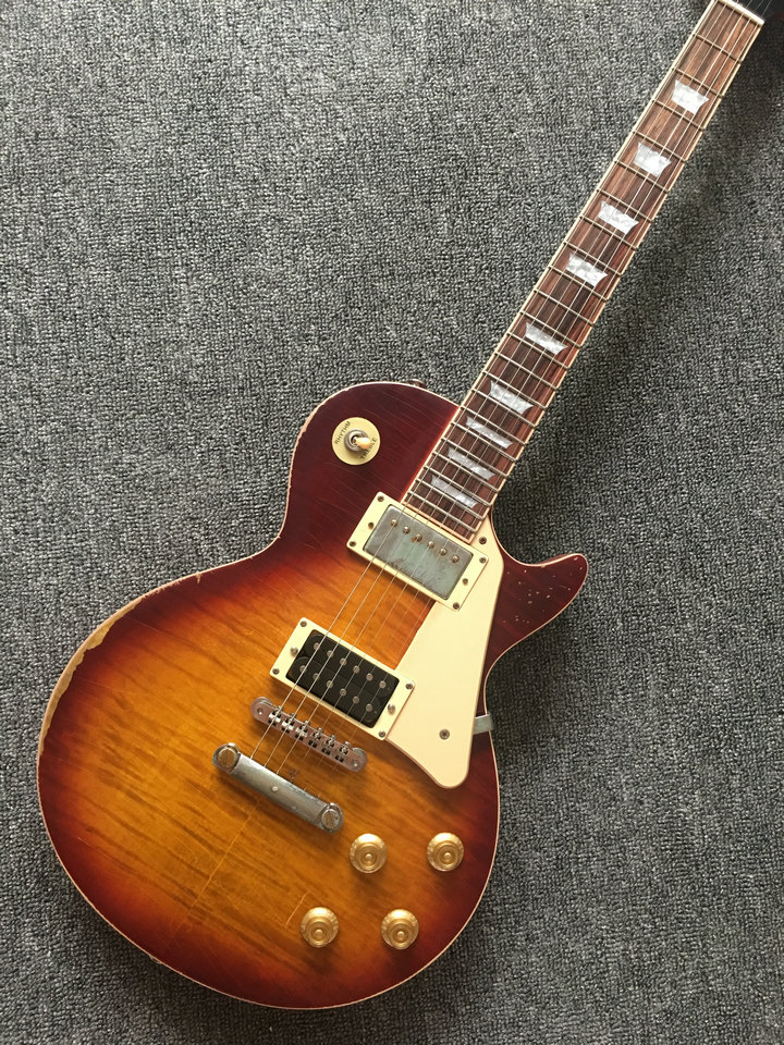 Custom Shop LP 100% ручной работы реликвия гитары, Тигр Полосатый географические карты Классический стандарт LP гитары Limited выпущен Бесплатная доста...