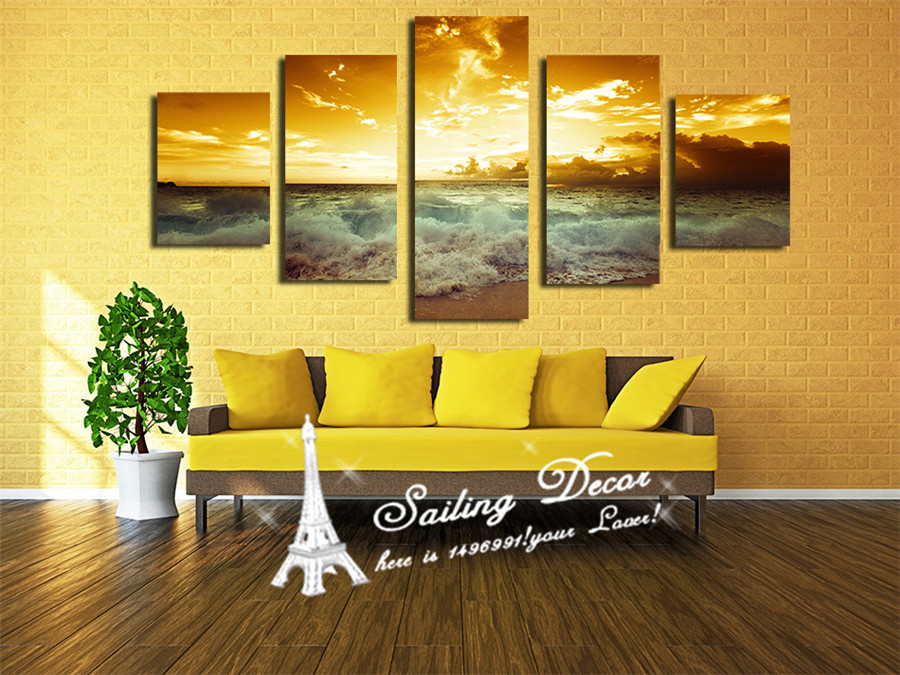 HD Quality Canvas Painting 5 Panels/Set Printed On Canvas Wall Art ...