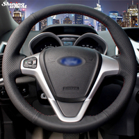 BANNIS Hand stitched Black Leather Car Steering Wheel Cover for Ford Fiesta 2008 2013