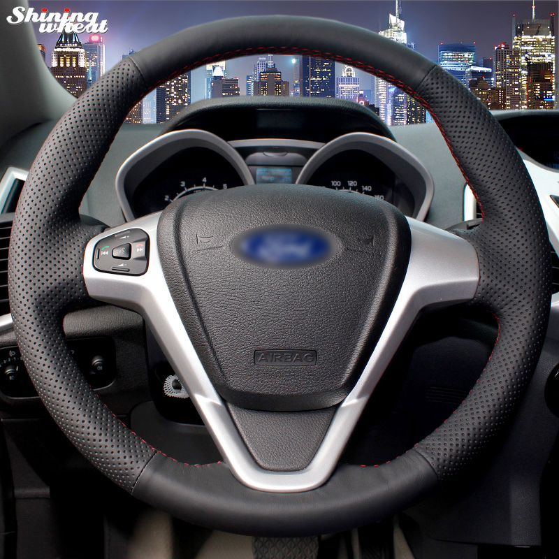 Shining wheat Hand-stitched Black Leather Car Steering Wheel Cover for  Ford Fiesta 2008-2013