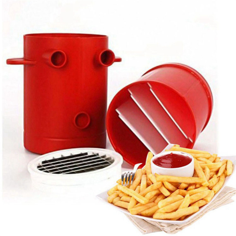 Copper Fries Potatoes Maker Slicers French Fries Maker For Jiffy Fries Cutter Machine & Microwave Container 2-in-1 No Deep-Fry