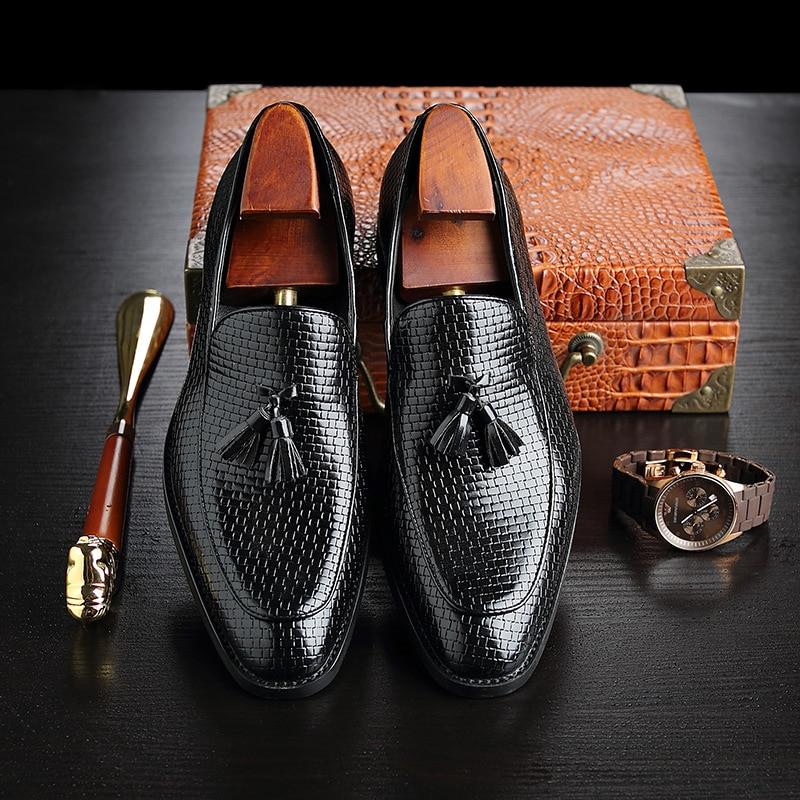 En Bureau vin Cuir Chaussures Pompons Pria De Rouge Mocassins Noir Élégant Pour jaune Sur Luxe Classique Sepatu Slip Robe Hommes À YCqxwwn07H