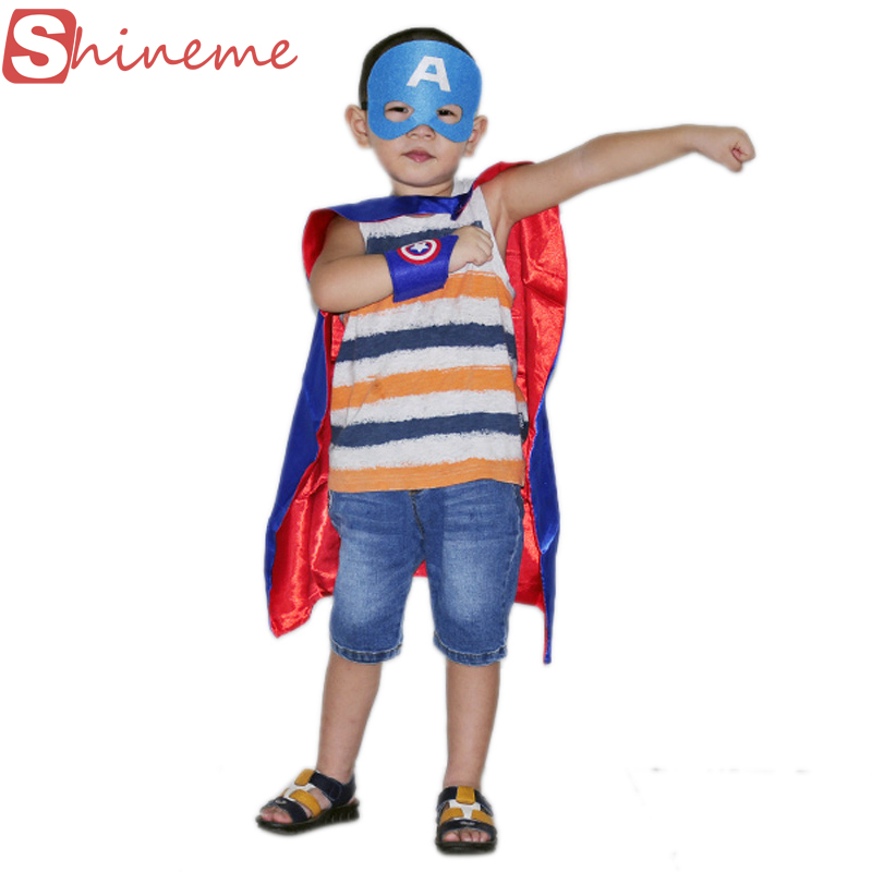 1pc cuff+1cape+1mask kids superhero capes super hero costume child cloak superman batman baby boy girls birthday party clothes