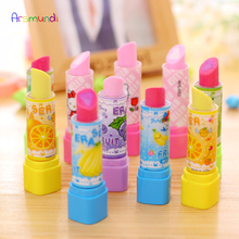 Arsmundi Creative Stationery Supplies Kawaii Lipstick Pencil Erasers for Office School Kids Prize Writing Drawing Student Gift