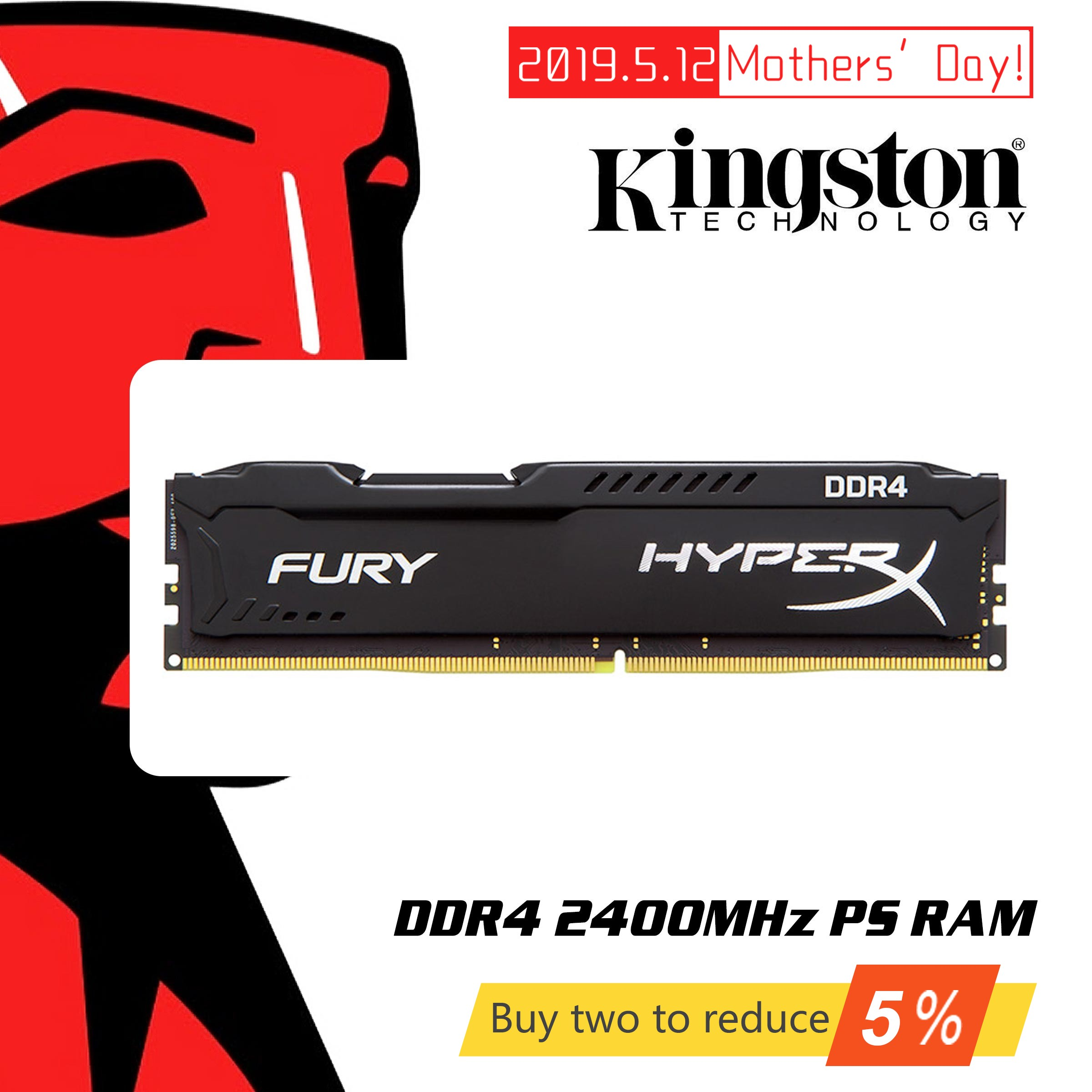 Original Kingston HyperX FURY 4GB 8GB 16GB Desktop Game RAM Memory DDR4 2400MHz CL15 DIMM 288-pin Internal Memoria For Gaming image