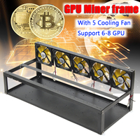 6 8 GPU Mining Frame Case with 5 Cooling Fans Mining Rig Aluminum Stackable Case for Open Air Frame ETH/ZEC/Bitcoin