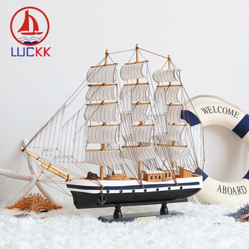 LUCKK 50 см ручная работа деревянная модель кораблей фигурка украшение для дома в средиземноморском стиле деревянные плоты морской Прохладный