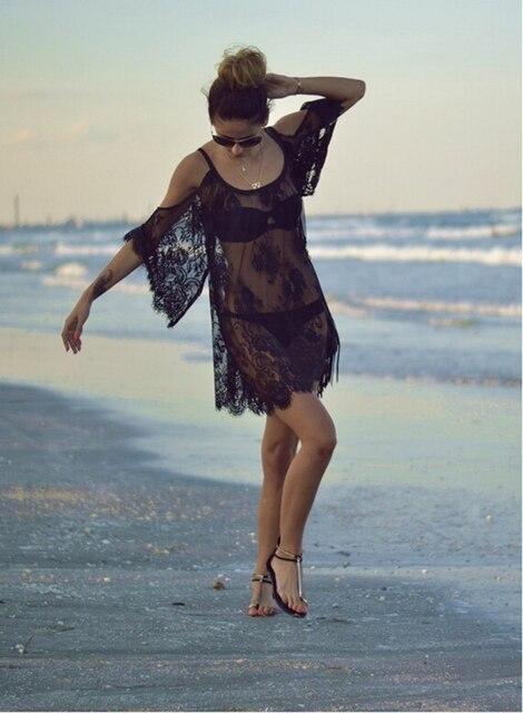 Бикини Cover Up Кружева полые крючком купальник пляжное платье Для женщин 2018 летние женские сокрытия ванный комплект для плавания одежда туника
