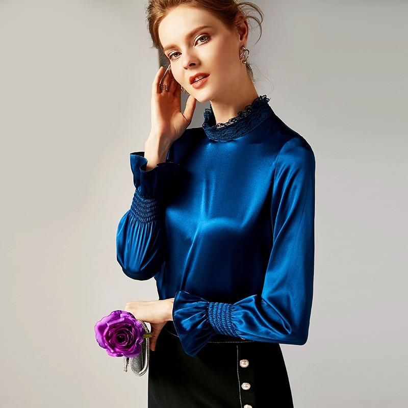 Printemps En R10104 Dark Blue Longues Chemises Col Satin Nouveau À Solide gris Rétro parleur Femmes Vêtements Couleur Haut Montant Manches Soie Pure SSZTw