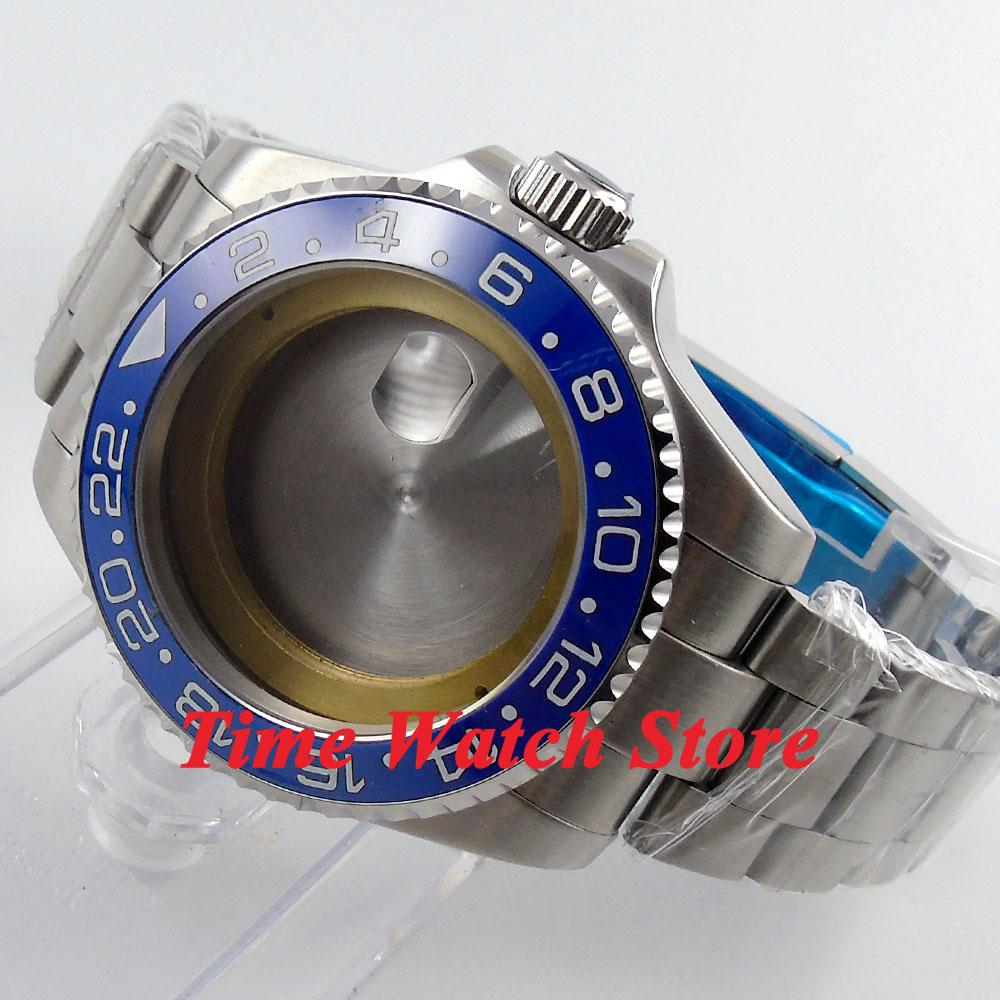 43mm Sapphire glass blue ceramic bezel Watch Case with bracelet fit ETA 2824 2836 movement 56 цена и фото