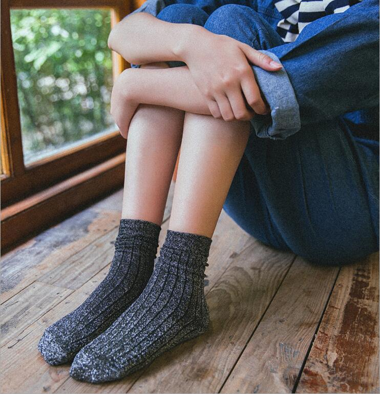 1 Pair Hot Sale 2018 Shiny Long Socks Autumn and Spring New Fashion Glitter silver Vertical bar In Tube Socks