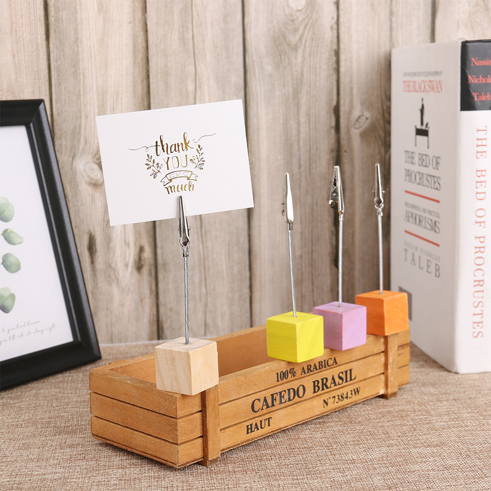 Photography Props Photo Clips Note Stand Wedding Ornaments Wooden Card Holders