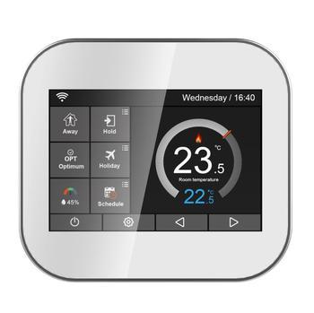 Kolorowy termostat z ekranem dotykowym Wifi do podgrzewania wody kotła z angielskim polski czeski włoski hiszpania przez telefon android ios tanie i dobre opinie smarterlink Chłodzenie ogrzewanie 23db ROOM Klasa 1 230 v SML-5000 HW