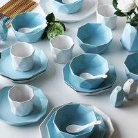 13 шт. посуда набор костяного фарфора блюдо пластина чаши набор бытовой простое блюдо Комбинации бытовой подарок Керамика комплект