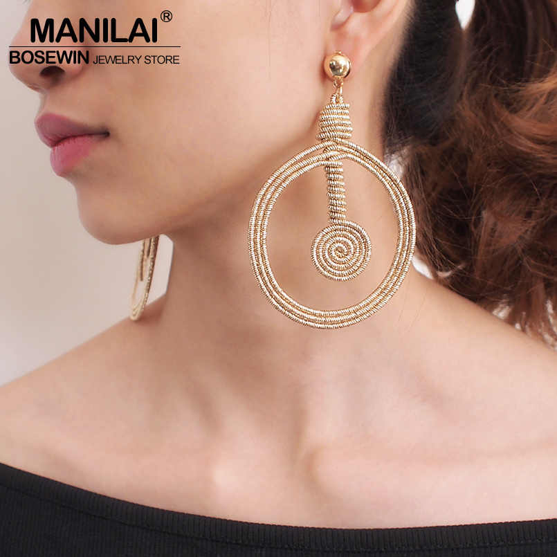 MANILAI Bohemian Alloy Spiral Statement Earrings Women Vintage Hollow Out Round Metal Dangle Earrings Fashion Jewelry