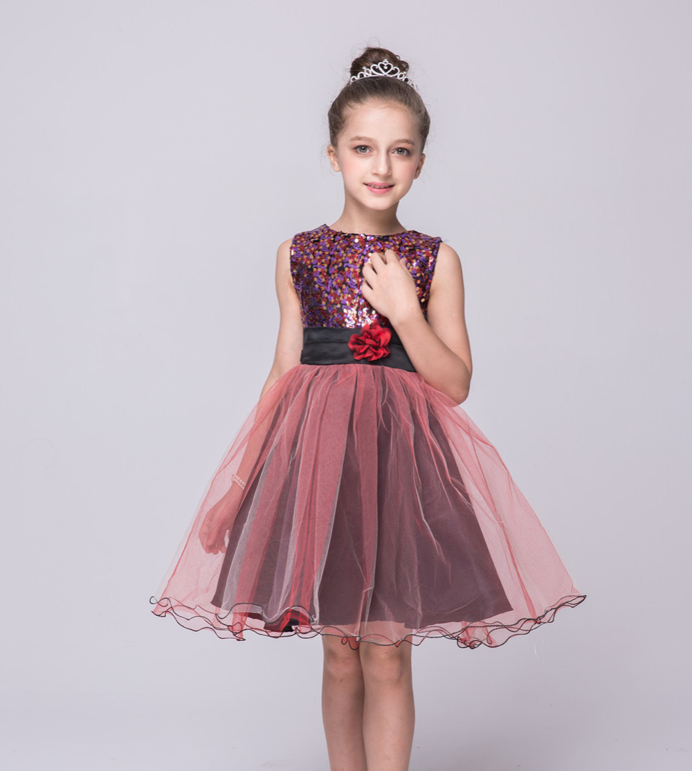 A-Line Flower Girls Dresses for Wedding Tulle Holy Communion Dresses Sequins Mother Daughter Dresses For Wedding and Girl Party