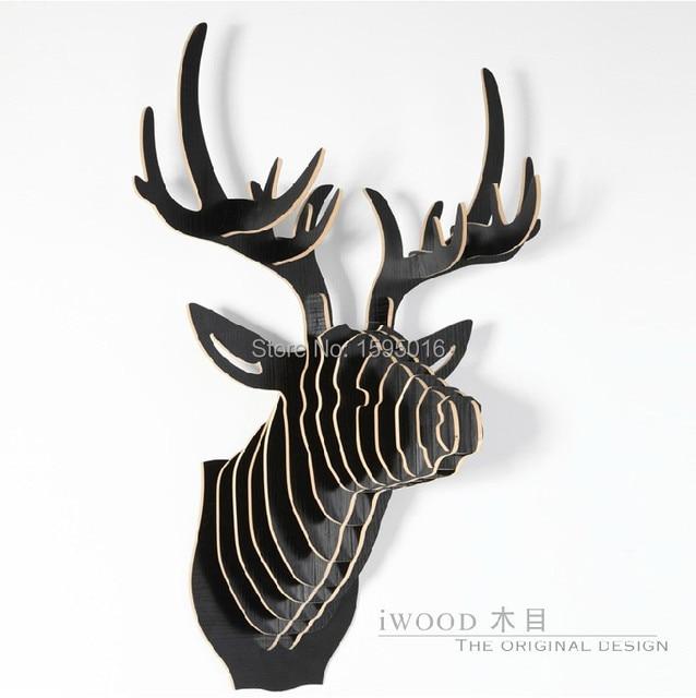Reindeer head,3D DIY wooden home decorations,European