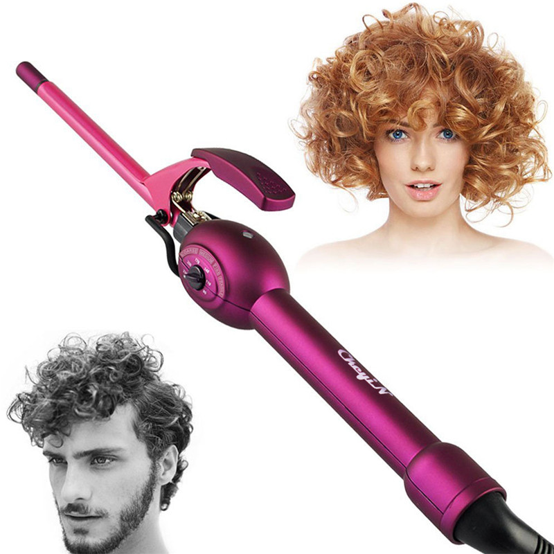 CkeyiN Professional 9mm Electronic Hair curler Magic Men's curling iron Wand Rollers Curly Hair Sticks Styling Tools Dry&Wet ckeyin 9 31mm ceramic curling iron hair waver wave machine magic spiral hair curler roller curling wand hair styler styling tool