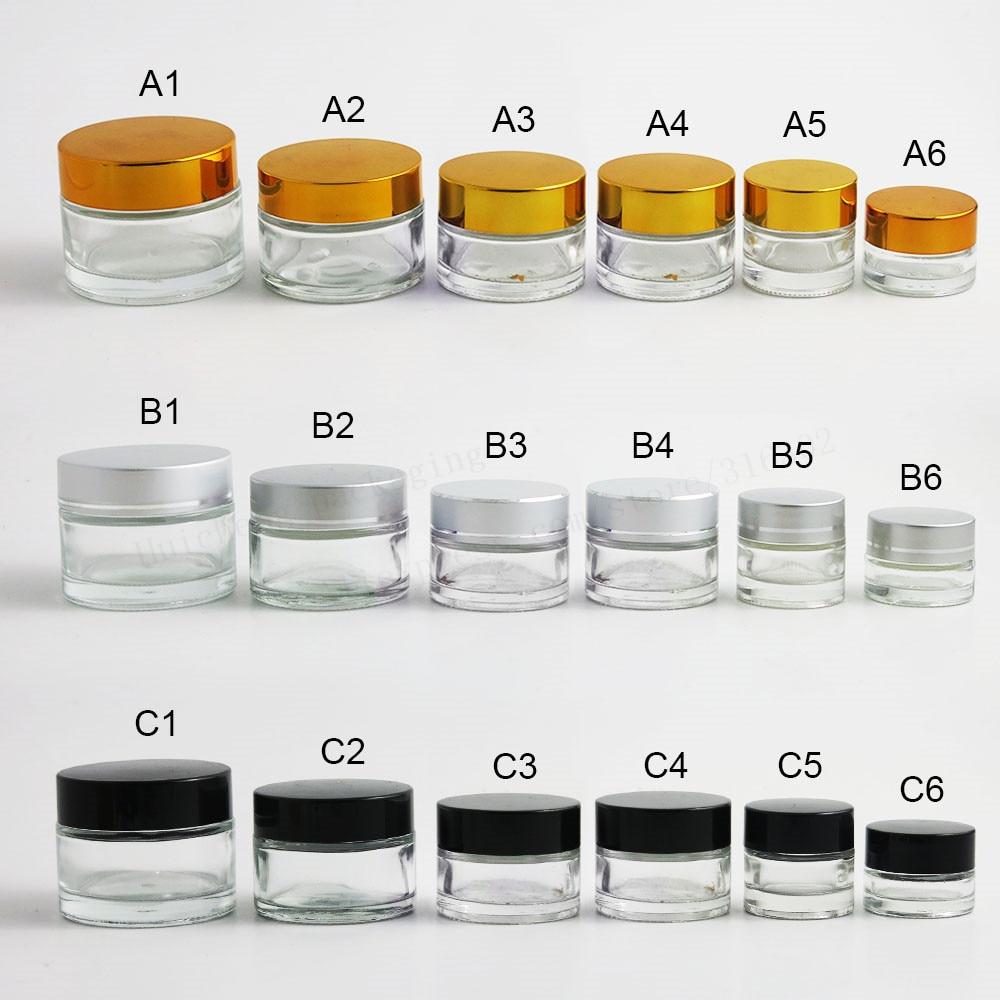 12 x 5g 10g 15g 20g 30g Travel Mini krém üvegedénybe átlátszó üveg tartály arany fekete ezüst kupakkal Kozmetikai csomagolás