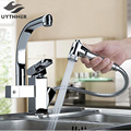 Uythner Luxury Pull Out Chrome Brushed Nickel Finish Kitchen Faucet Mixer Single Hole Deck Mounted