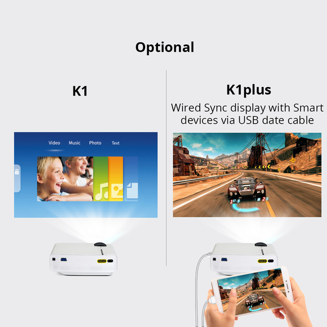 BYINTEK Mini Projector K1plus, Portable Home Theater Beamer 3