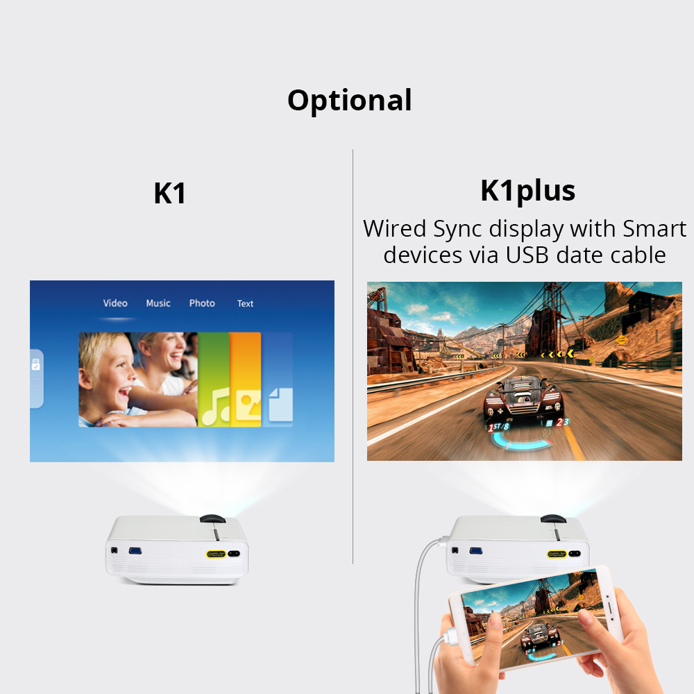 byintek sky k1/k1 plus led portable home theater hd mini projector with wired sync display