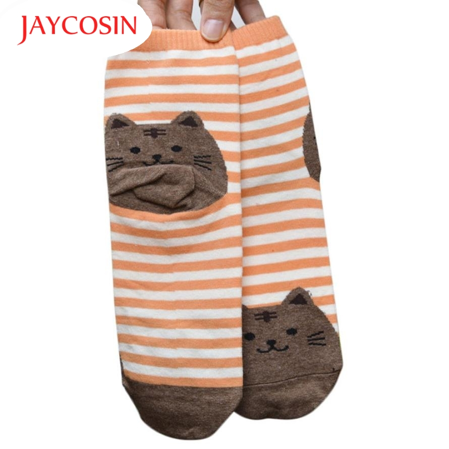 JAYCOSIN New Fashion 1 Pair Cute Cartoon Cat Socks Striped Pattern Girls Women Cotton Sock Winter 161013 Drop Shipping