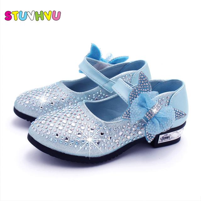 2019 high heel shoes kids girls gold sliver dress shoes spring princess shoes Korean bow leather single sparkling rhinestones