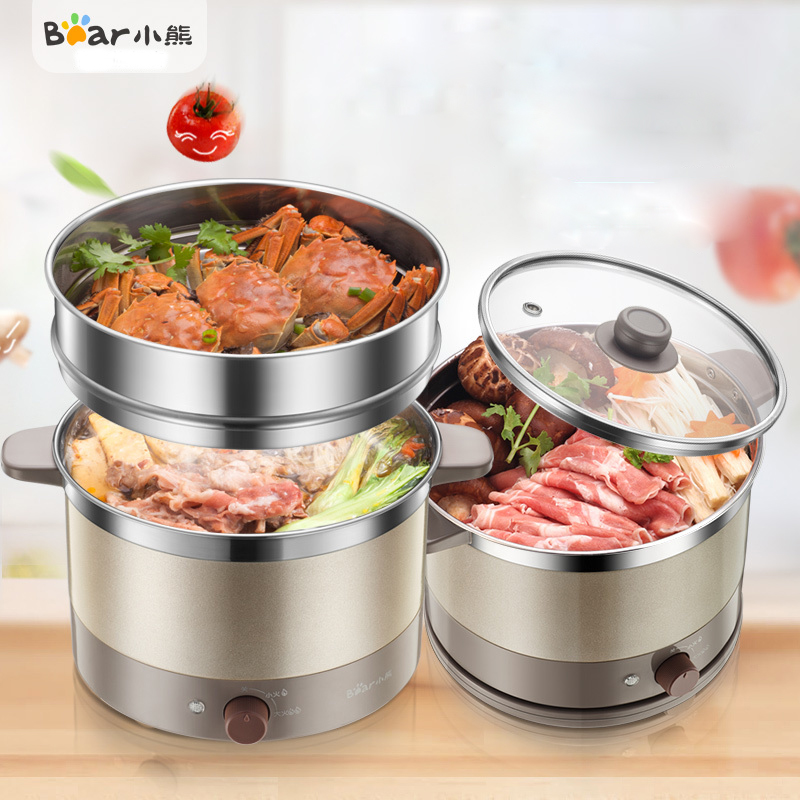 Bear DRG-C18A1 Multifunction Electric Cooker Electric Cups Student Cook Noodles Electric Hot Pot Stainless Steel Handle Anti-hot bear ddz b12d1 electric cooker waterproof ceramics electric stew pot stainless steel porridge pot soup stainless steel cook stew