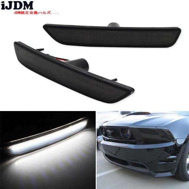 IJDM przydymione soczewki przednie boczne lampy obrysowe z 27 SMD bursztynowe/białe diody LED do 2010 2014 Ford Mustang przedni zderzak