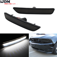 iJDM Smoked Lens Front Side Marker Lamps with 27 SMD Amber/white LED Lights For 2010 2014 Ford Mustang Front Bumper