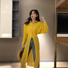 New Split Long Shirt Female Batwing Sleeve Tunic High Waist Oversize Blouse Top Women 2019 Spring Casual Korean Clothes high low casual tunic top
