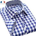 Langmeng 2016 del verano hombres camisa a cuadros slim fit hombre de manga corta camisa masculina camisa casual de marca para hombre camisas de vestir de algodón