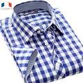 Langmeng 2016 homens verão camisa xadrez slim fit masculino casual camisa de manga curta camisa masculina de algodão camisas de vestido dos homens da marca
