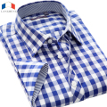 Langmeng 2016 summer men plaid shirt slim fit male short sleeve casual shirt men brand cotton dress shirts camisa masculina