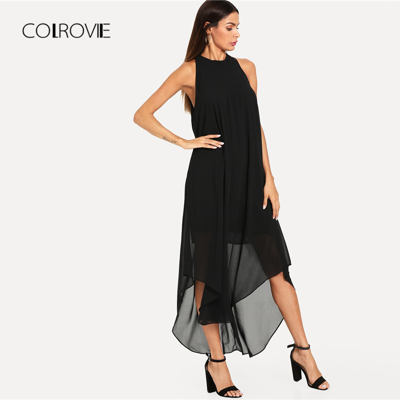 bd00a194a719 COLROVIE Black Sexy Sleeveless Curved Hem Swing Halter Midi Party Dress  2018 Autumn Trapeze Loose Summer Dress Women Dresses-in Dresses from Women's  ...
