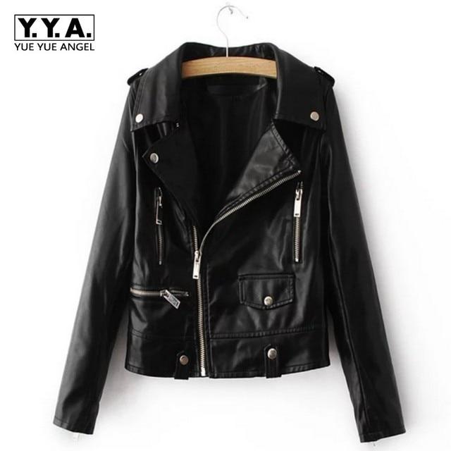 3ef410595dea8 Personalized Retro Full Sleeve Vogue Jaqueta Couro Feminina Motorcycle  Jacket Casaco Feminino Womens Pu Leather Overcoat Black