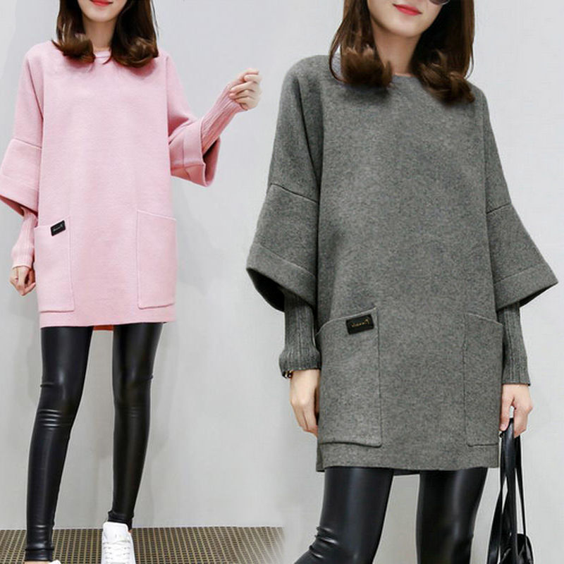 Women Fake Two Pieces Sweatershirt Winter Autumn Thick Tops Loose Pullover Plus Size TH36
