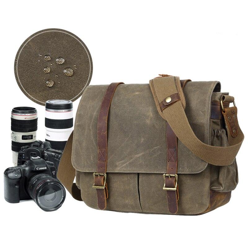 LXH キャンバスカメラショルダーバッグ多機能 Dslr バッグハンドバッグニコン、キヤノン、ソニー一眼レフヴィンテージ防水カメラケース  グループ上の 家電製品 からの カメラ / ビデオ バッグ の中 1