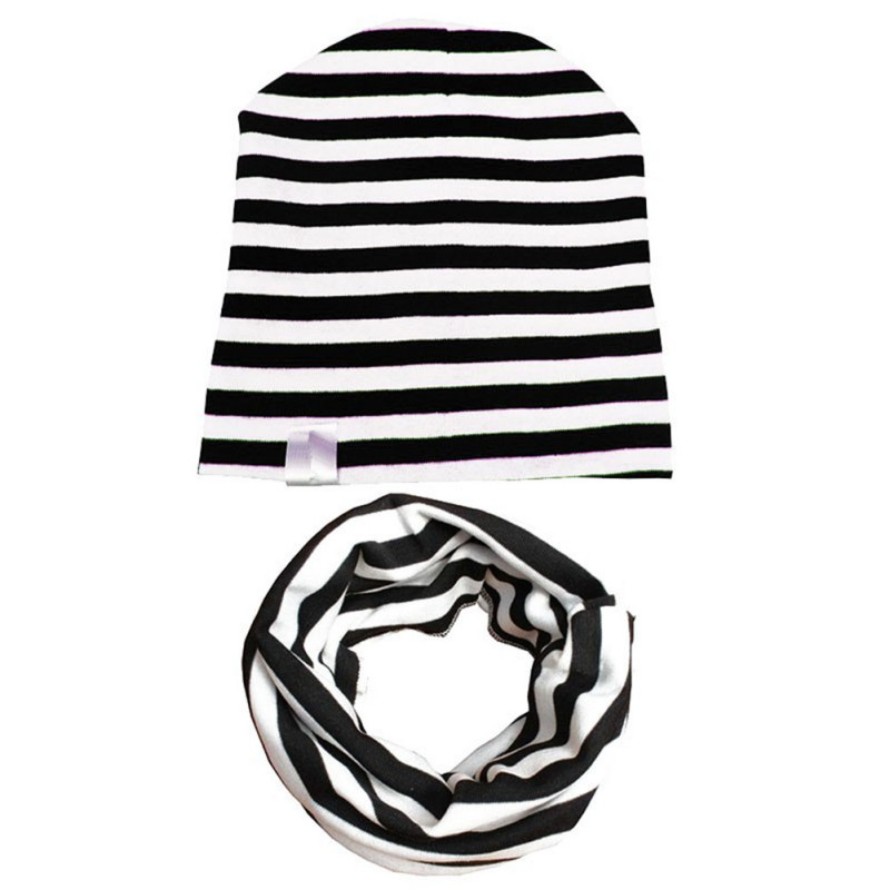 Baby Hats Girls Boys Autumn Knit Beanie Striped Hat & Scarf Set Toddler Child Hats Cute Cap Cotton Baby Hat +Scarf kit Dropship цена 2017