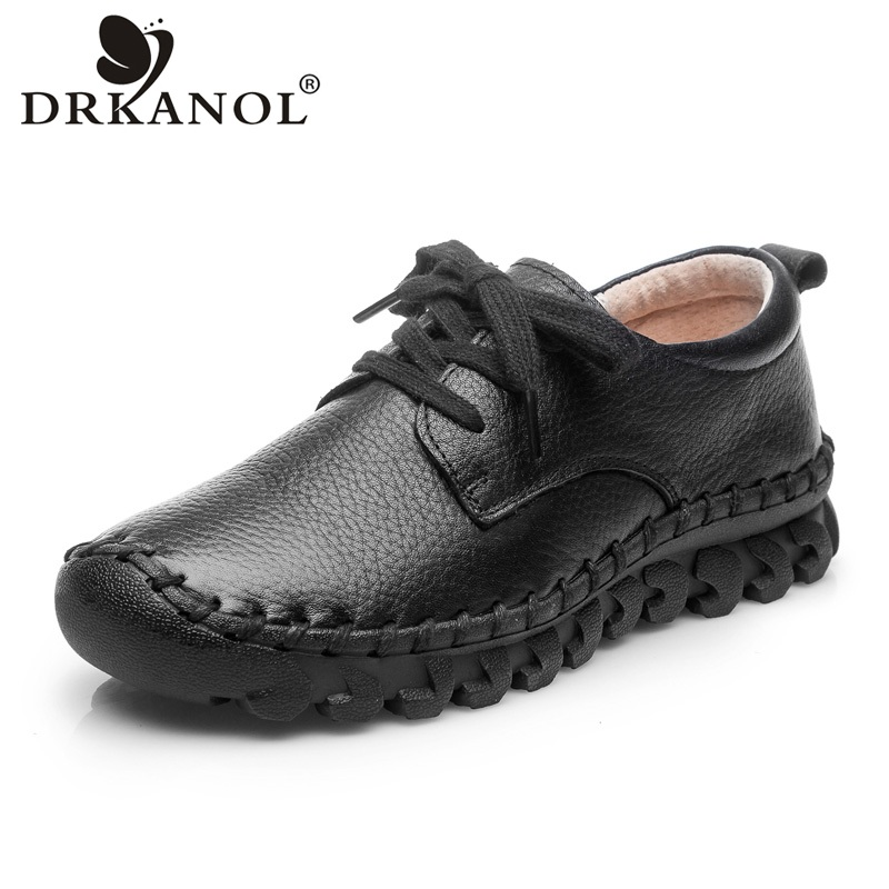DRKANOL 2018 Spring Women Flat Shoes Handmade Genuine Leather Women Shoes Soft Comfortable Lace Up Flats Women Casual Shoes H738 designer women flats amry green genuine leather lace up grey flats fashion handmade casual leather shoes soft bottom comfortable