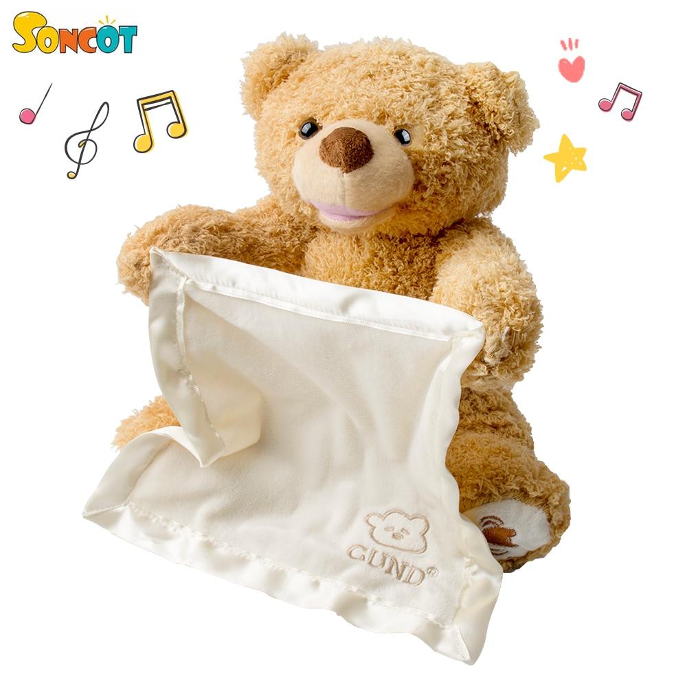 SONCOT lindo 30 cm oso de peluche jugar a esconder y buscar lindo de dibujos animados de peluche de felpa de juguete de los niños es mejor nuevo cumpleaños regalo de Año