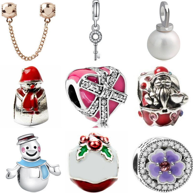 New Fashion Enamel Santa Claus Snowman Flower Heart Simulated Pearl Beads Fit Pandora Charms Bracelets for Women Jewelry DIY serveware