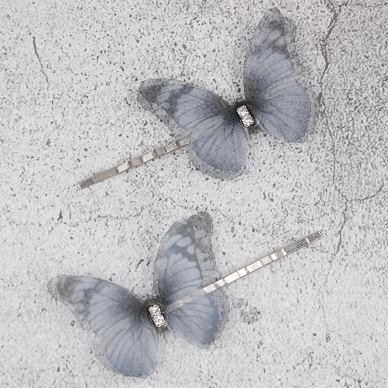 2Pcs/Lot Hair Clips Tulle Double-layered Three-dimensional Butterfly Girls Hair Pins Barrette Beautiful Women Styling Hairpins2Pcs/Lot Hair Clips Tulle Double-layered Three-dimensional Butterfly Girls Hair Pins Barrette Beautiful Women Styling Hairpins