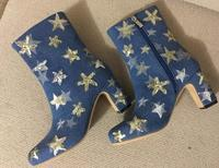 Top Quality Cowboy Women High Heel Boots Bling Embellished Denim Ankle Stiletto Zipper Boots Casual Autumn
