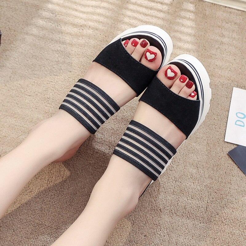 Image 3 - Women Summer Slippers Wedges Paltform Slides Female Black Height Increasing Sandals Woman Open Toes High Heel Shoes SH021804Slippers   -