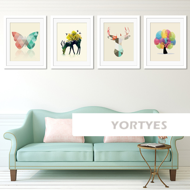 Us 5 9 Simple Artist Tree Deer Butterfly Nordic Style Canvas Prints Wall Art Painting Wall Pictures For Living Room Decoration Yort0003 In Painting