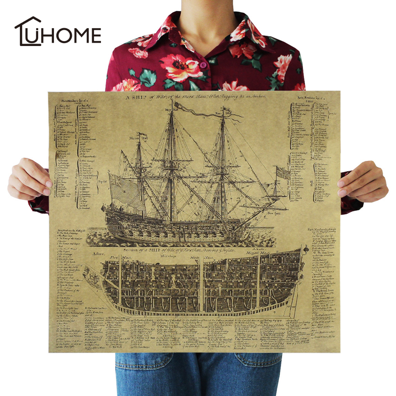 Ancient Battleship Map Kraft Paper Cafe Bar Poster Retro Poster Decorative Vintage Home Decoration Wall Decal Painting 57x52cm