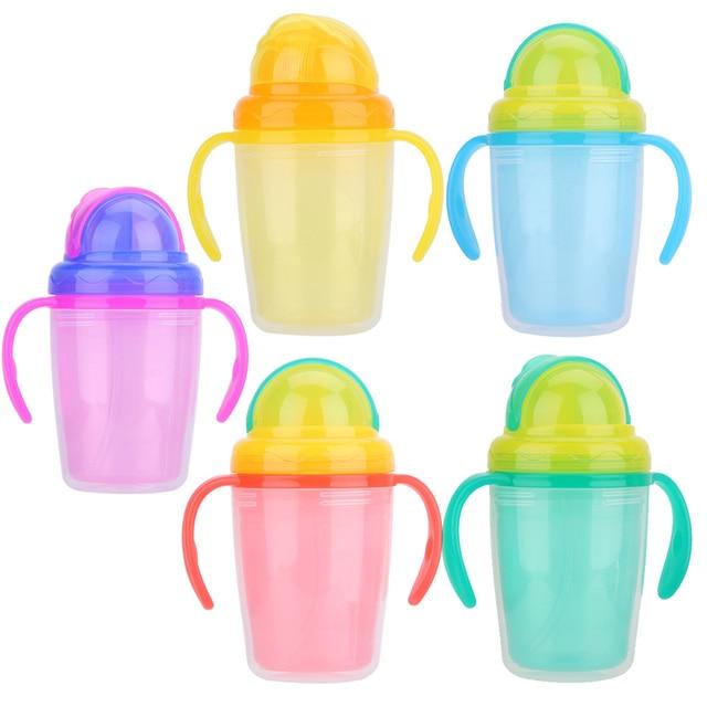 230 мл baby cup дети ребенок соломы бутылка для воды двойной изоляцией узнать Кормление питьевой силиконовые ручки для маленьких детей Бутылки чашки